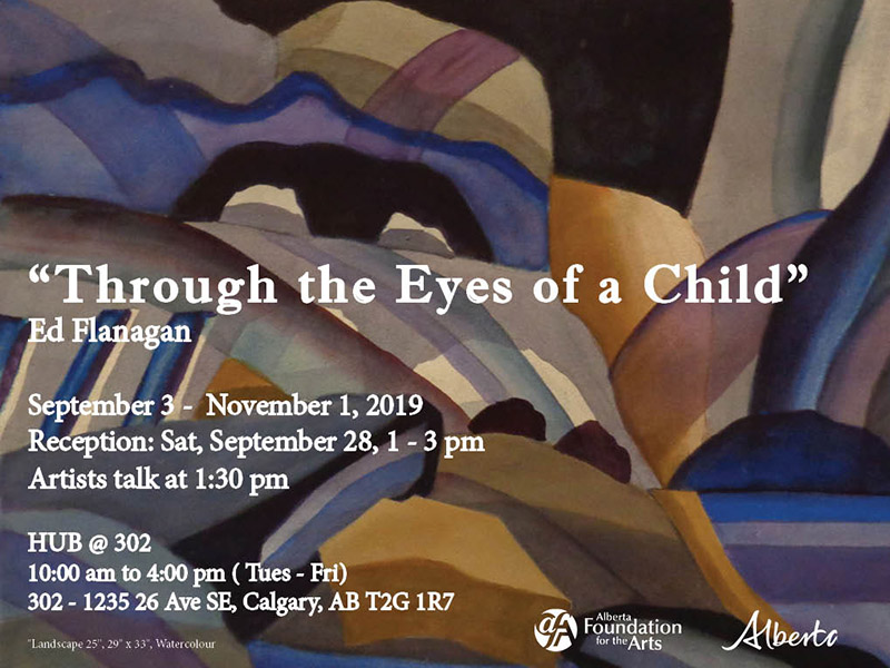 A poster for Through the Eyes of a Child at the Alberta Society of Artists