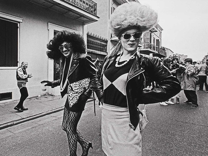 A photo of two drag queens at Mardi Gras in 1983