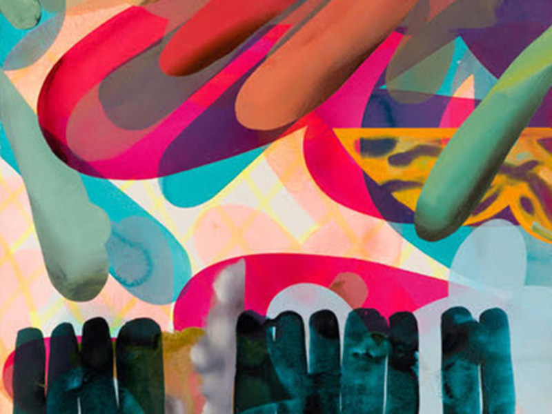 Detail of Mark Mullin's how to properly play in rainbows