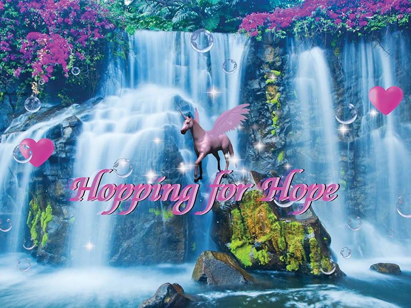 A graphic of a unicorn and a waterfall promoting Ahreum Lee's Hopping for Hope