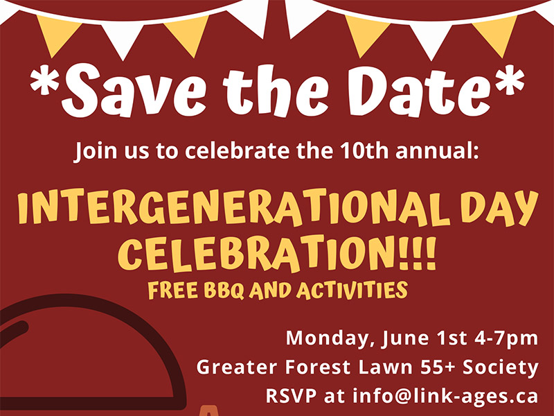 A save the date flyer for the Intergenerational Day Celebration