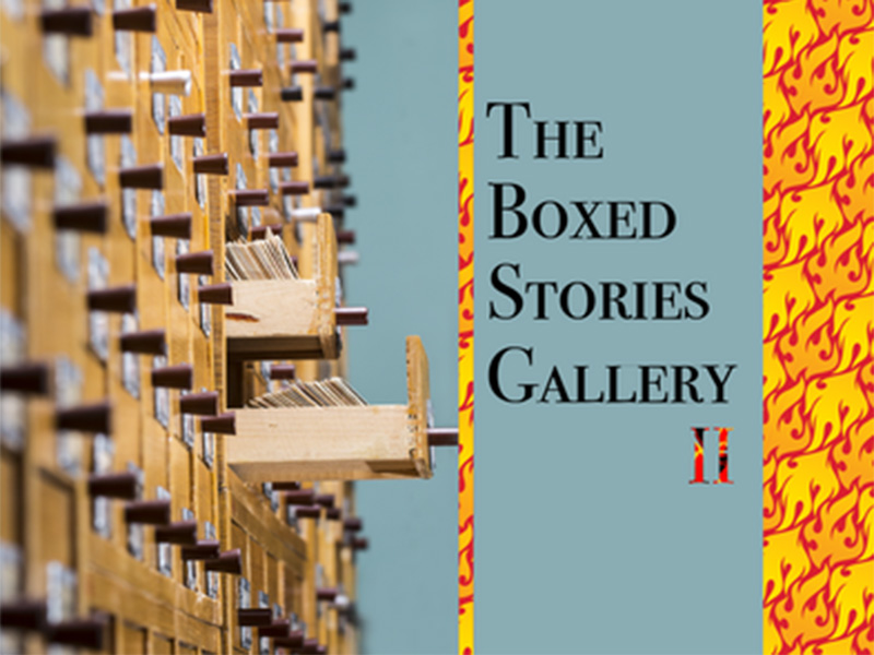 A graphic for the The Boxed Stories Gallery at Loft 112