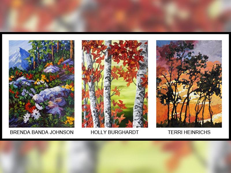 Samples of paintings by renda Banda Johnson, Holly Burghardt and Terri Heinrichs