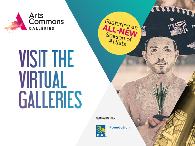A graphic promoting the virtual galleries at Arts Commons for Spring 2021