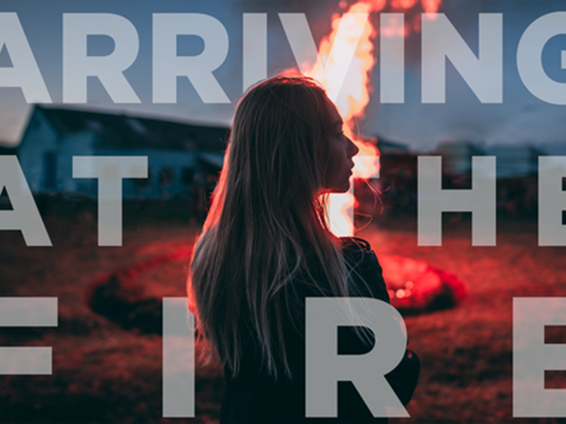 A graphic for the Calgary Opera's Opera Lab's film, Arriving at the Fire