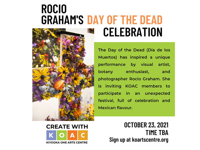A graphic promoting the Day of the Dead Celebration at the Kiyooka Ohe Arts Centre and Sculpture Park