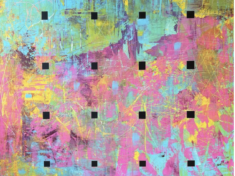 """Cropped image of Chris Kuzmanovich's painting """"the world is so fucked up"""","""