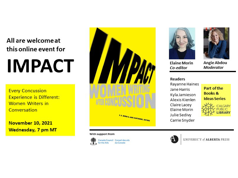 Image of promotional graphic for Books & Ideas: Every Concussion Experience is Different. Women Writers in Conversation
