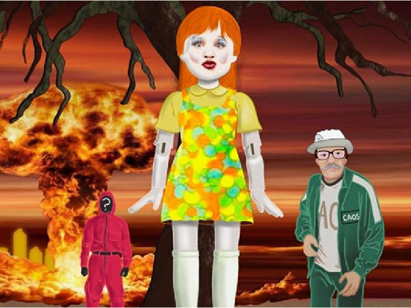 Stylized cartoon-like image of doll and two characters, tree, and explosion in background based on Squid Game