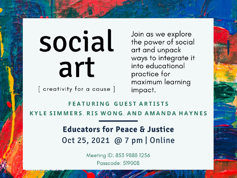 An image with event details for Educating through Social Art