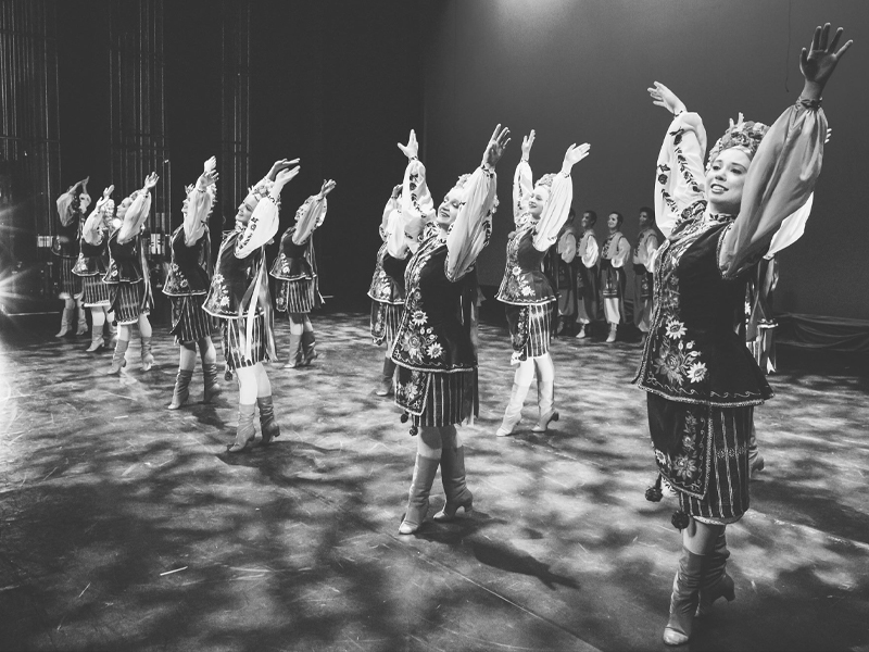A black and white image of dancers
