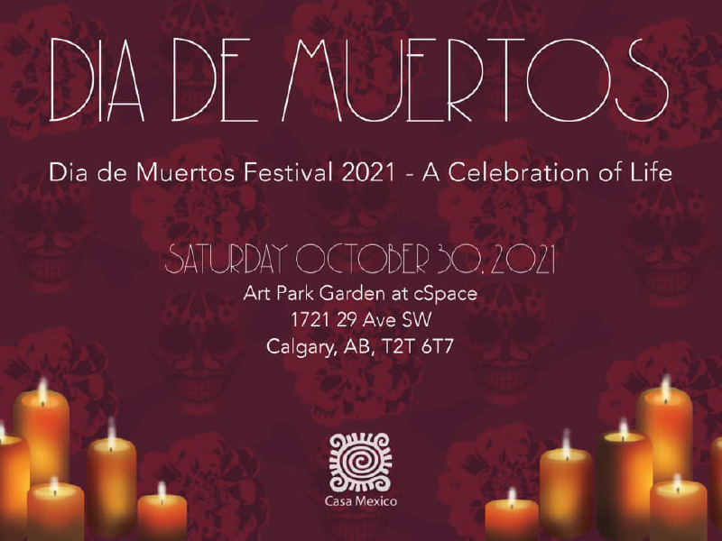 Graphic for Dia de Muertos Festival with event details and images of candles